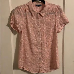 ModCloth Pink and Floral Button Down SZ M